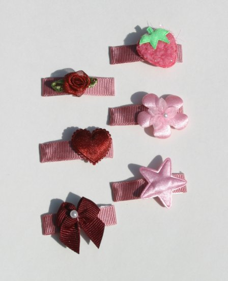 New SET 6 BOUTIQUE Baby Hair clips snaps PINK Hair accessories www.absolutelydaisy.ecrater.com
