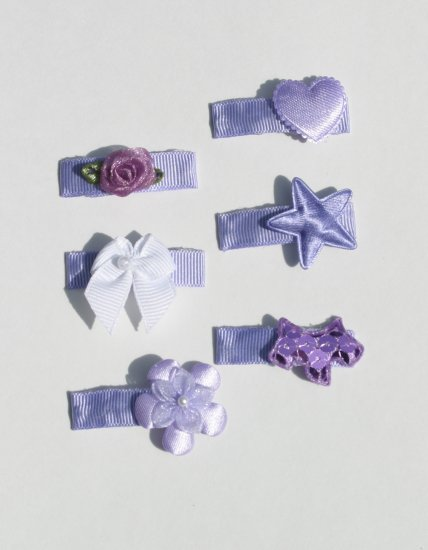 New SET 6 BOUTIQUE Baby Hair clips snaps LAVENDER Hair accessories www.absolutelydaisy.ecrater.com