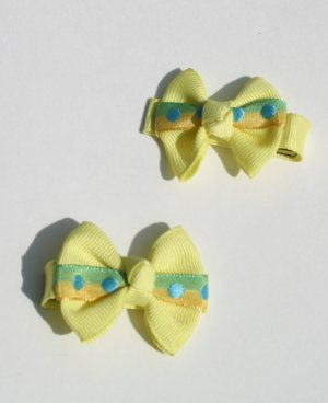 New 2 BOUTIQUE Hair clips bows Hair bow Yellow BOWS Hair accessories www.absolutelydaisy.ecrater.com
