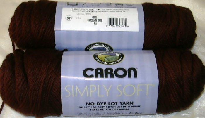 Caron Simply Soft Yarn No Dye Lot 3 oz Skeins ~ Chocolate 2722