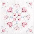 Jack Dempsey White Quilt Blocks ~ Interlocking XX Hearts 732-16
