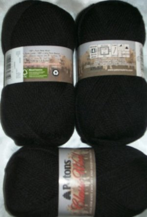Patons Classic Wool Merino Worsted 1 Skein ~ Black 226