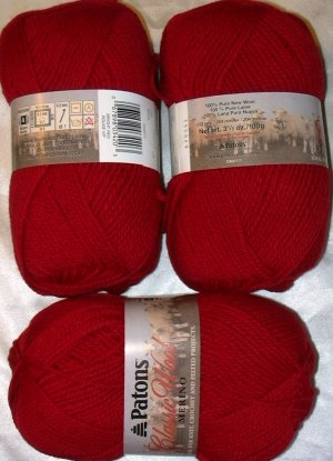 Patons Classic Wool Merino Worsted 1 Skein ~ Bright Red 230