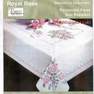 "Tobin Stamped Oblong Tablecloth For Embroidery ~ Royal Rose 58"" Round"