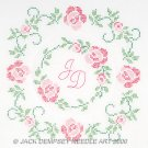 Jack Dempsey White Quilt Blocks ~ Rose Monogram 732-393