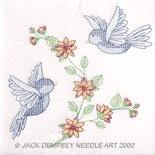 Jack Dempsey White Quilt Blocks ~ Birds 732-31