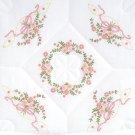 Jack Dempsey White Quilt Blocks ~ Interlocking Floral & Ribbons 732-301