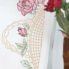 Jack Dempsey Stamped Pillowcases White Perle Edge ~ Basket of Roses 1600-617