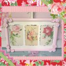 Cottage Sweet Picture Frame w Shabby Trio of Pink Roses!