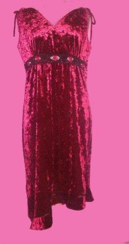 Burgundy Velvet Asymmetrical Hem Dress