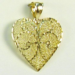 Large filigree heart pendant with diamond-cut sparkle 14K yellow solid gold valentine jewelry