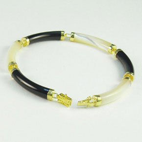 "Black Onyx Mother of Pearl 14K yellow gold sectional bracelet 7"" Asian Chinese style jewelry"