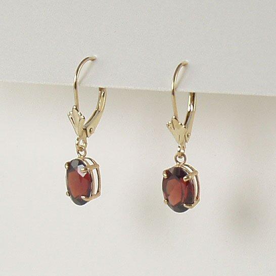 Red garnet dangle earrings 6x8mm oval lever back 14k yellow gold semi-precious stone jewelry