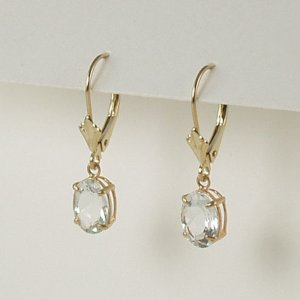Aquamarine dangle earrings 6x8mm oval lever back 14k yellow gold semi-precious stone jewelry