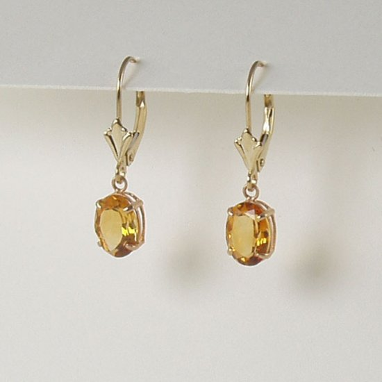 Yellow citrine dangle earrings 6x8mm oval lever back 14k gold semi-precious stone jewelry
