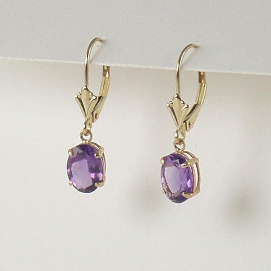 Purple violet amethyst dangle earrings 6x8mm oval lever back 14k yellow gold semi-precious jewelry