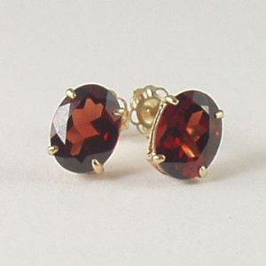 Red garnet stud post earrings 6x8mm oval 14k yellow gold semi-precious stone jewelry