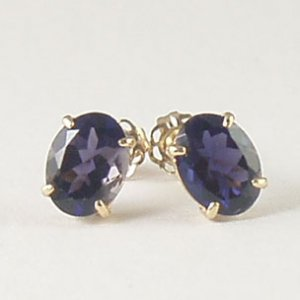 Blue violet iolite stud post earrings 6x8mm oval 14k yellow gold semi-precious stone jewelry
