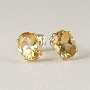 Yellow citrine stud post earrings 6x8mm oval 14k gold semi-precious stone jewelry