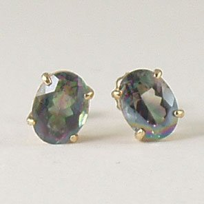 Fire mystic topaz stud post earrings 6x8mm oval 14k yellow gold semi-precious stone jewelry