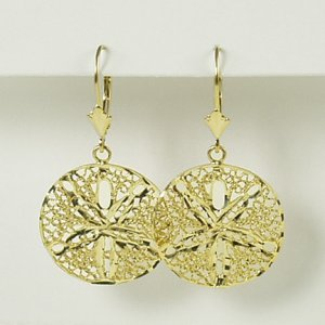 Filigree round sand dollar lever back earrings with diamond-cut 14K yellow gold jewelry