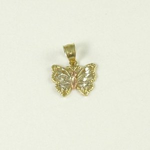 Two-tone butterfly pendant 14K yellow rose gold jewelry women Valentine