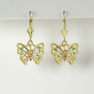 Two tone butterfly dangle earrings 14K yellow rose gold jewelry lever back women Valentine