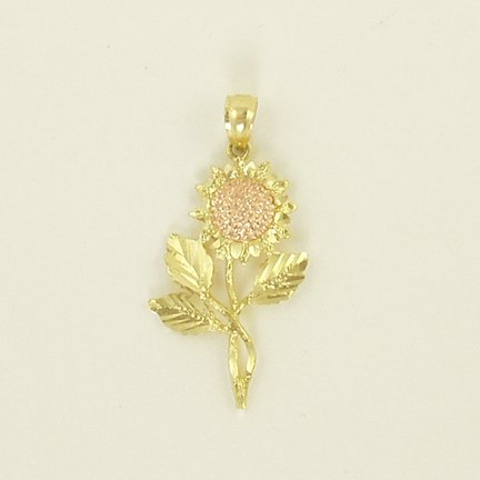 Sunflower floral pendant 14K yellow rose gold nature style jewelry