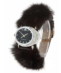 "JLO Black Dial ""Mink"" Crystal Oval Watch"