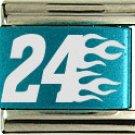 #24 RACING & FLAMES COLOR LASER ITALIAN CHARM/CHARMS