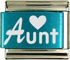 AUNT & HEART COLOR LASER ITALIAN CHARM/CHARMS