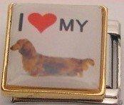I LOVE DACHSHUND DOG PUPPY ITALIAN CHARM/CHARMS