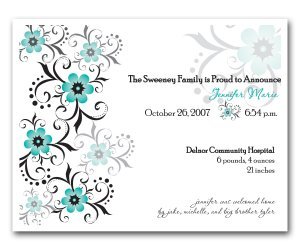 Baby Birth Boy or Girl Birth Announcements Flat Panel Cards