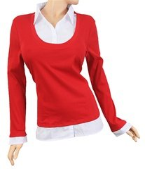 New With Tags Red Classic Chic Sporty Sweater Top Plus Size 1X