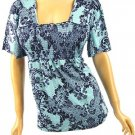 Ocean Blue Toile Print Babydoll Top Plus Size 4X (26/28)