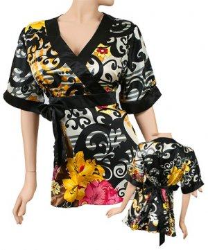 Asian Silk-Blend Kimono Empire Waist Top Plus Size 1X