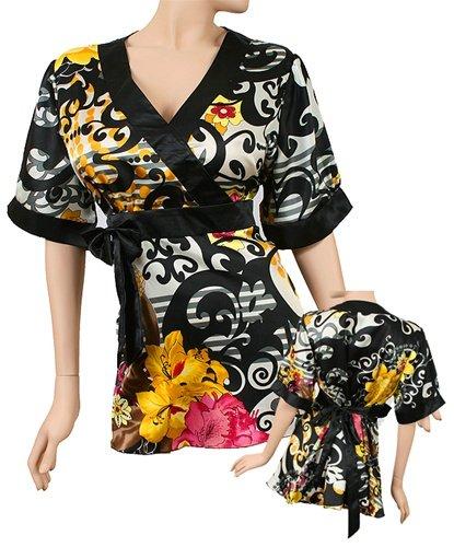 Asian Silk-Blend Kimono Empire Waist Top Plus Size 2X