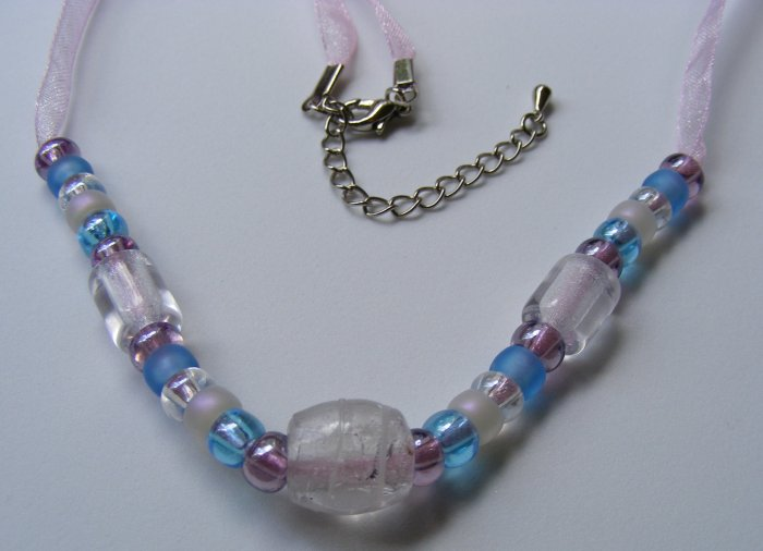 Ribbon Necklace Pinks & Blues