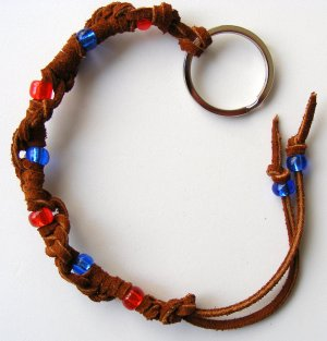 Leather Lacing Key Chain-  Brown red & blue #KC0032