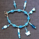 Glass charmed bracelet in blues #B0089