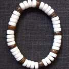 Wood Bracelet- White & Browns #B0088