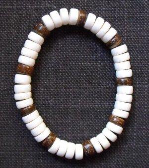 Wood Bracelet- White & Browns #B0088