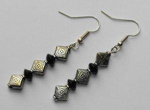 Antiqued black earrings #E0040