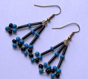 Blue & Black  earrings #E0044