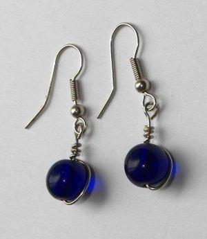 Blue ball earrings #E0042