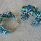 Blue and green wire cuff bracelet