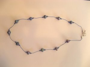 Blue Pearl knotted necklace