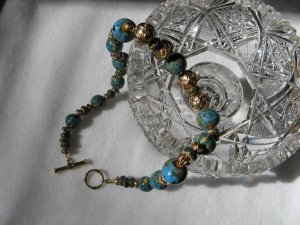 Turquoise with brass