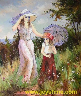 ART oil painting-repro mother child modern Figures