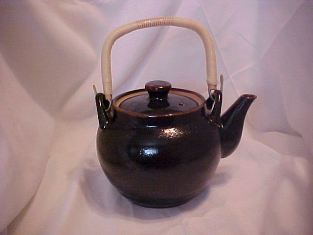 Japanese Tea Pot Brown Glaze-Wicker Handle